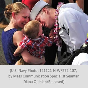 Sailor and family for Chaplain Post